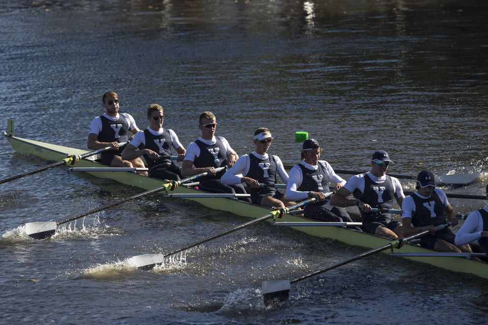 Yale's men's eights, the defending champs, settled for fourth place at Sunday's Head of the Charles Regatta.