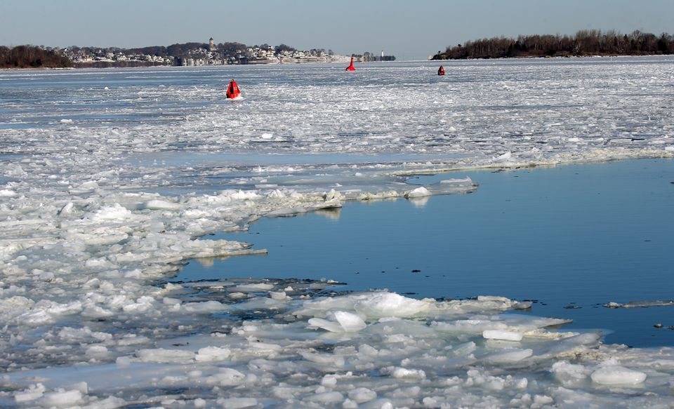 The ice at Hingham Shipyard where ferry service was closed.