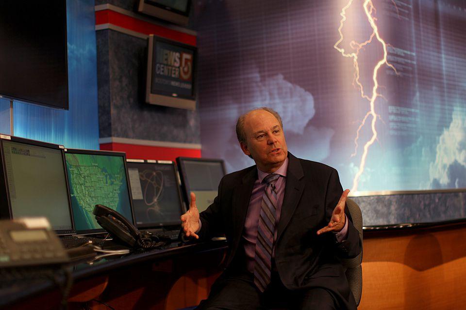 WCVB-TV chief meteorologist Harvey Leonard in his office.