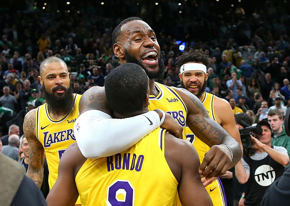 LeBron James celebrated with Rajon Rondo after Rondo's winning basket against the Celtics Thursday night.