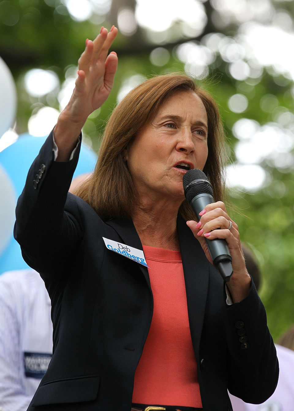 Deborah Goldberg campaigned at a Somerville event in August.