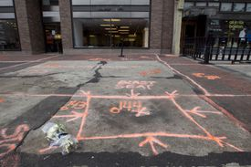 The blast site on Boylston Strret between Dartmough and Exeter a week after the attack.