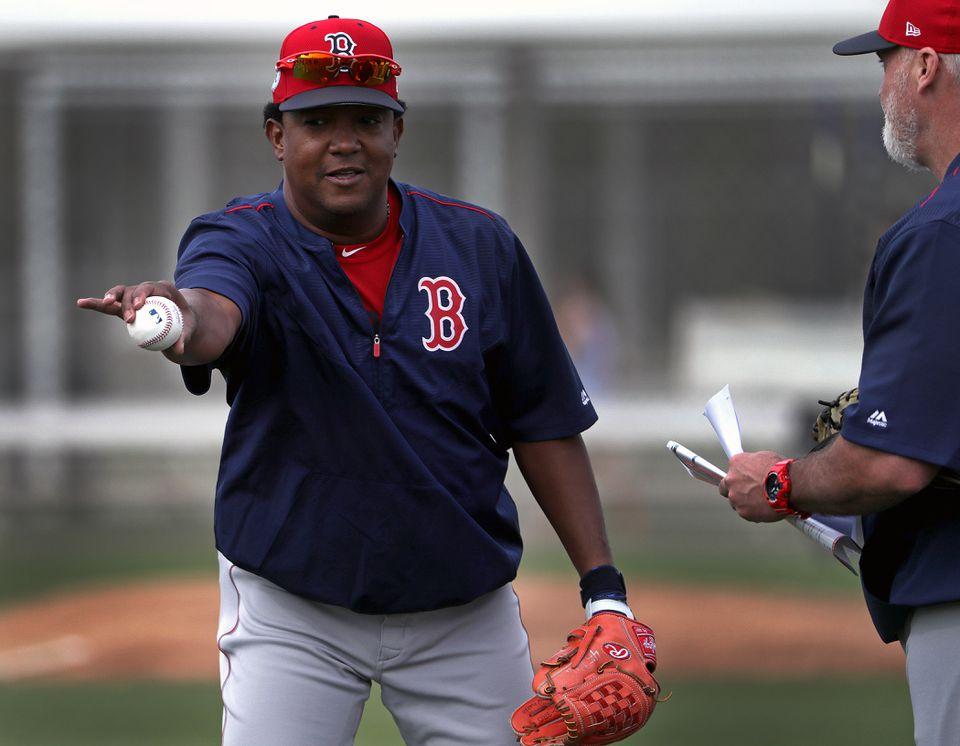 Dana LeVangie (right) and Pedro Martinez during spring trainig in February.