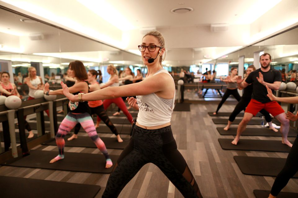 A barre class at Flywheel Gym at the Prudential Center.