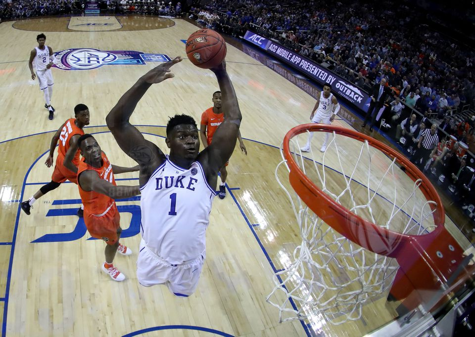 Zion Williamson soars for a dunk against Syracuse Thursday night.