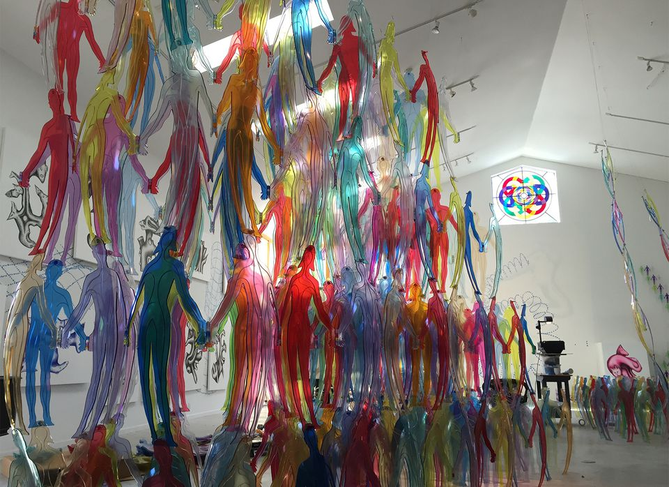 """Jonathan Borofsky's  """"Human Structures,"""" at the Center for Maine Contemporary Art."""