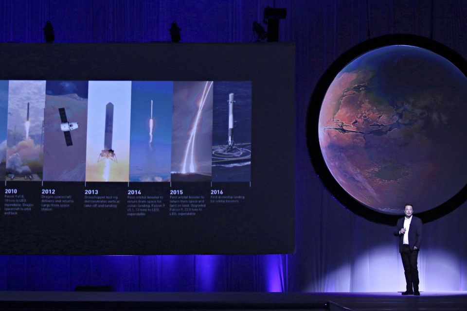 SpaceX CEO Elon Musk unveils his plans to colonize Mars during the International Astronautical Congress in Guadalajara, Mexico, in 2016.