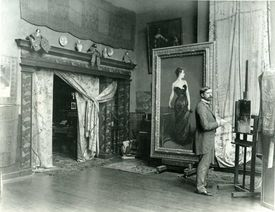 Sargent in his Paris studio with the Madame X portrait. Boston was the painter's other home, his grand-nephew says.