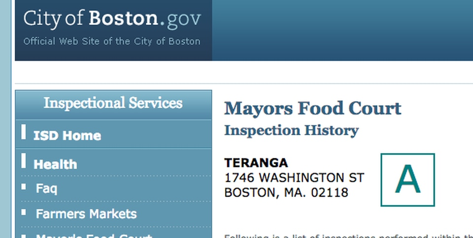 One of the most recent restaurants to be graded was Teranga in the South End.