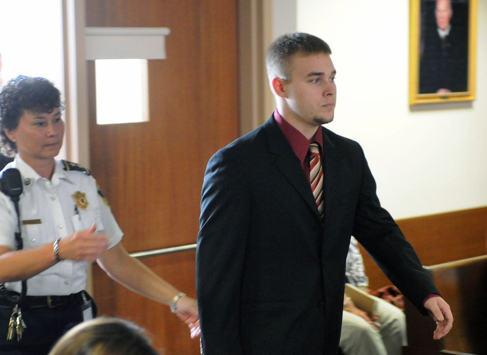 Sean Mulveyhill, right, entered a court room before a pretrial hearing in Hampshire Superior Court, in Northampton on Sept. 15, 2010.