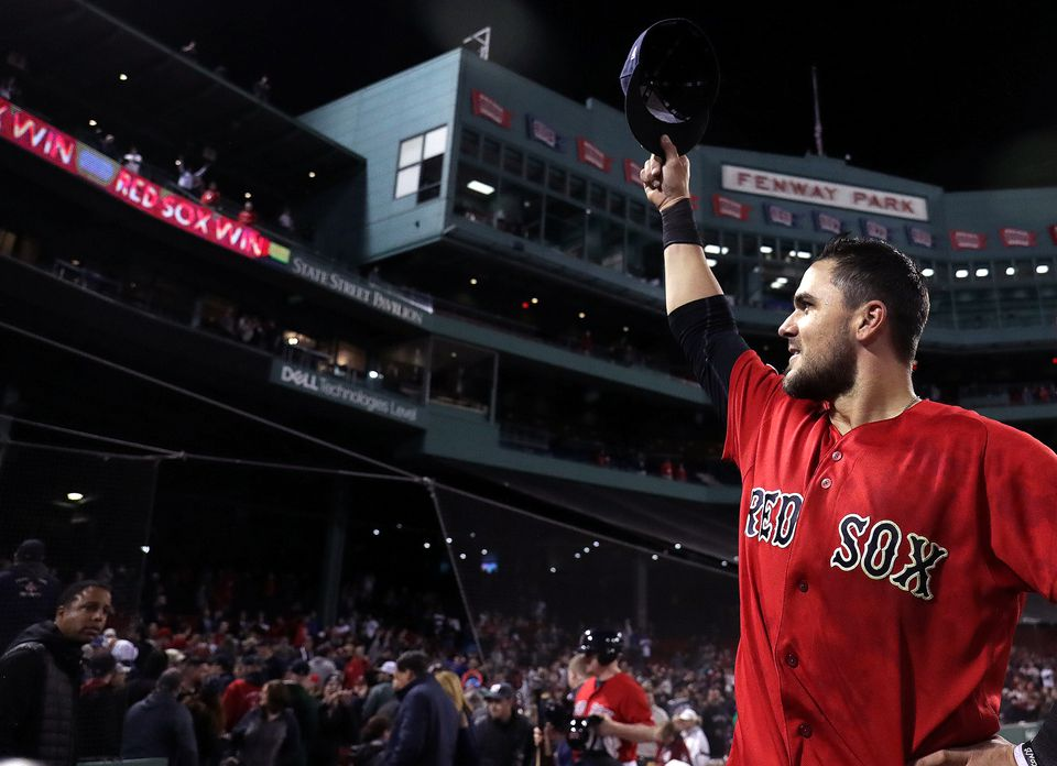 """Red Sox third baseman Michael Chavis (23) tips his cap to the fans after his walkoff hit in the 10th inning. """"That's what every kid dreams about, honestly,'' he said."""