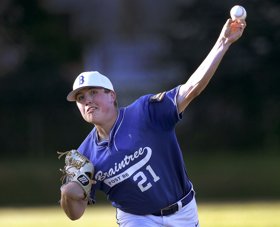 Braintree lefty Matt Tenney let fly with a pitch during the Holbrook game ...