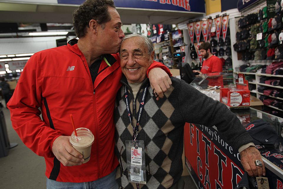 The Yawkey Way Store's longtime owner, Arthur D'Angelo, with his oldest son, Bobby. D'Angelo's four sons have taken over most of the day-to-day operations of the business from their 86-year-old father.