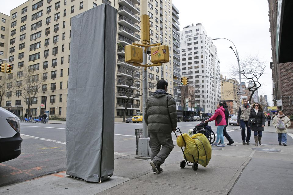 The 9-foot-tall structure installed on a sidewalk signaled New York City's plan to convert old payphones.