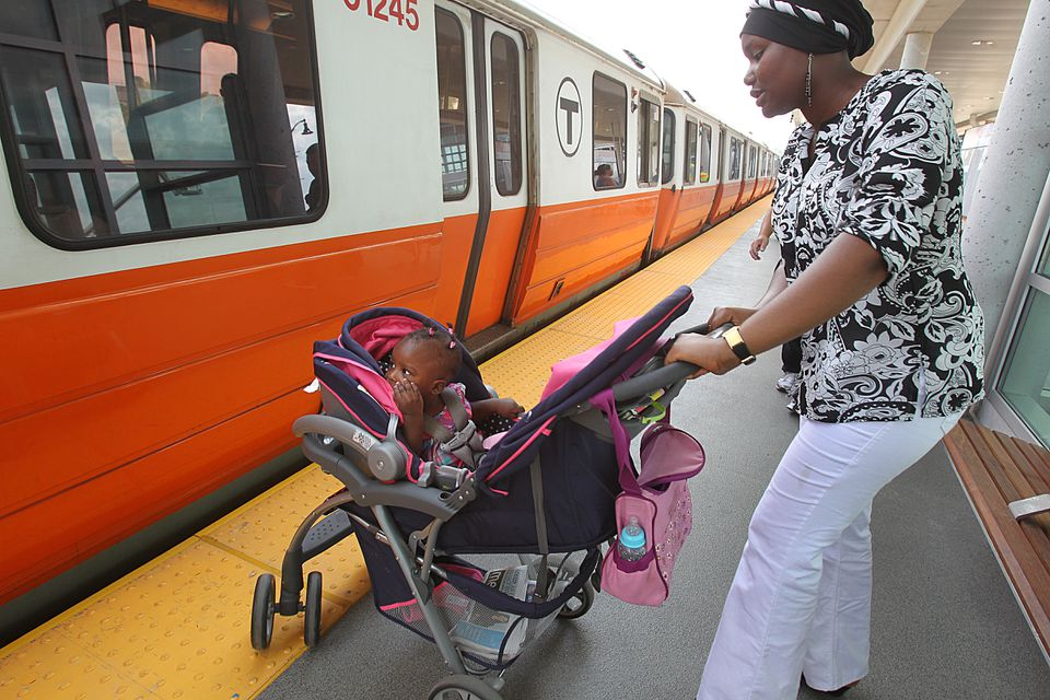 Bilkisu Suleiman, and 1-year-old Iman Bello, of Medford were took the train to go shopping.