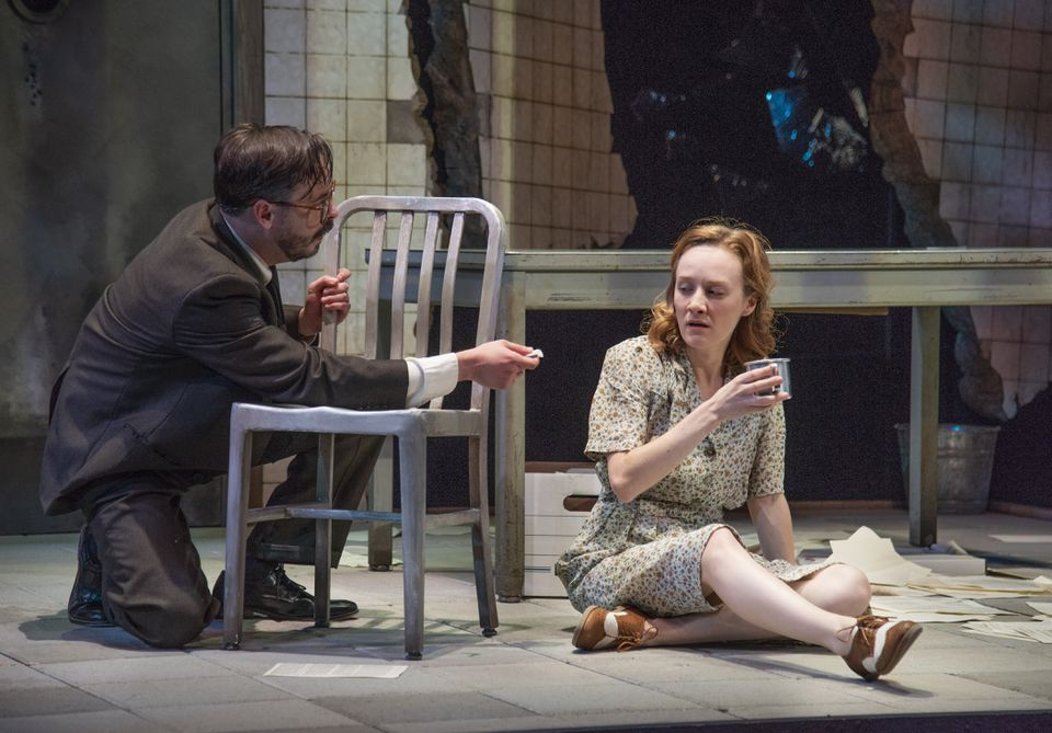 """Tim Spears and Sarah Oakes Muirhead in New Repertory Theatre's production of """"We Will Not Be Silent."""""""