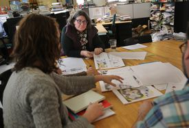 Liz Bicknell was part of a recent editorial meeting at Candlewick Press in Somerville.