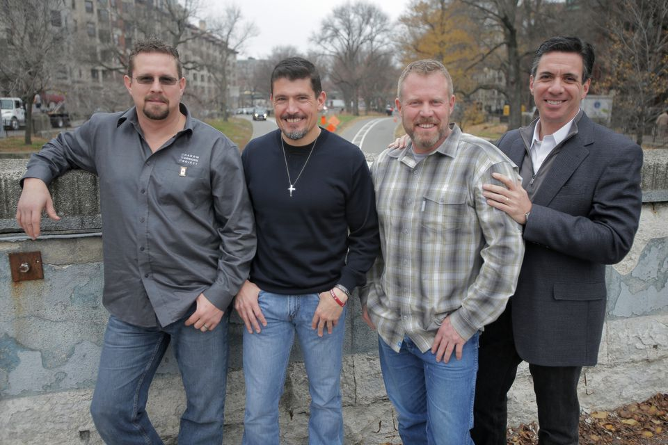 """From left: John """"Tig"""" Tiegen, Kris """"Tanto"""" Paronto, and Mark """"Oz"""" Geist were interviewed for the book """"13 Hours"""" by Mitchell Zuckoff (right)."""