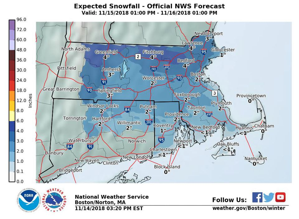 A map generated Wednesday afternoon showed that Boston could see about 2 inches of snow by Friday.