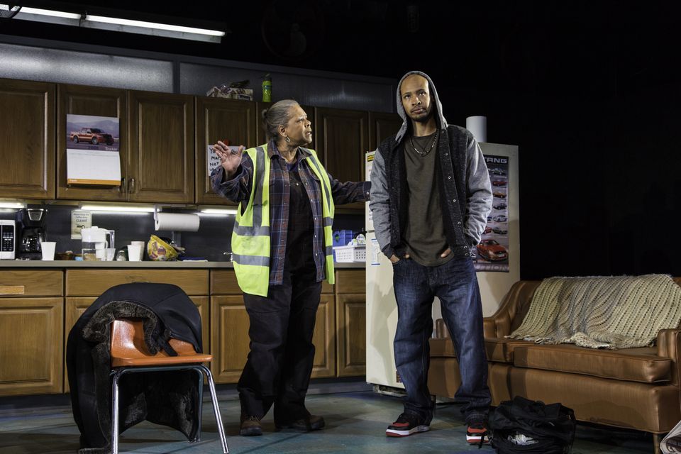 """Patricia R. Floyd and Jonathan Louis Dent in the Huntington Theatre Company production of """"Skeleton Crew."""""""