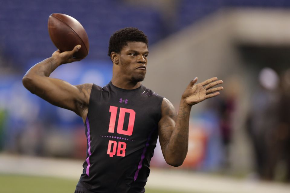 Lamar Jackson participated at the NFL scouting combine in Indianapolis last month.