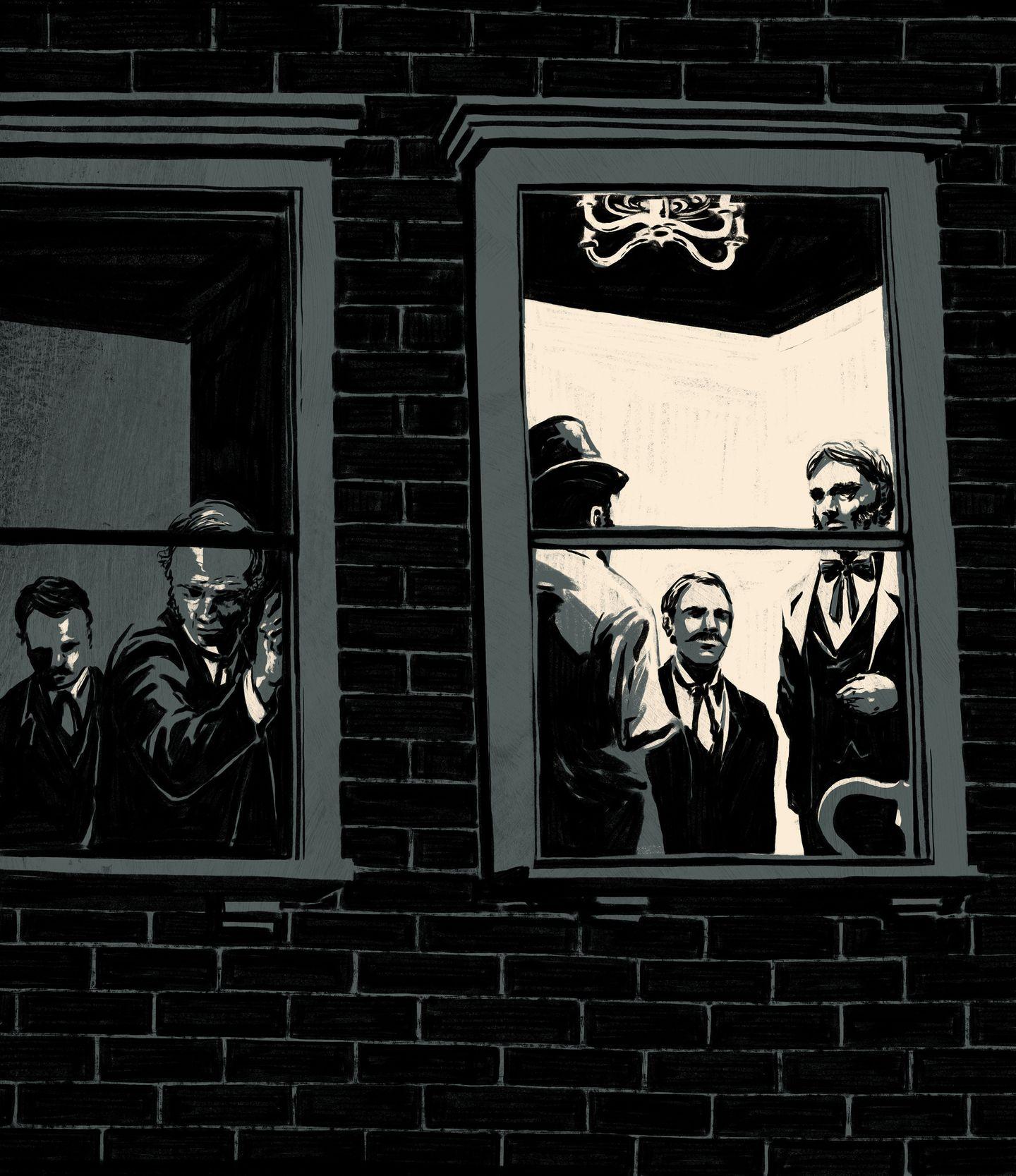 "The detectives eavesdrop on Bristol Bill, ""One-Eyed Thompson,"" and criminal mastermind Samuel Drury."