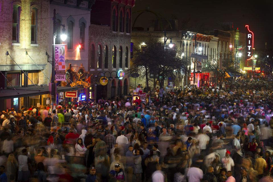 Thousands of people crammed into Sixth Street in Austin, Texas, during SXSW in 2014.