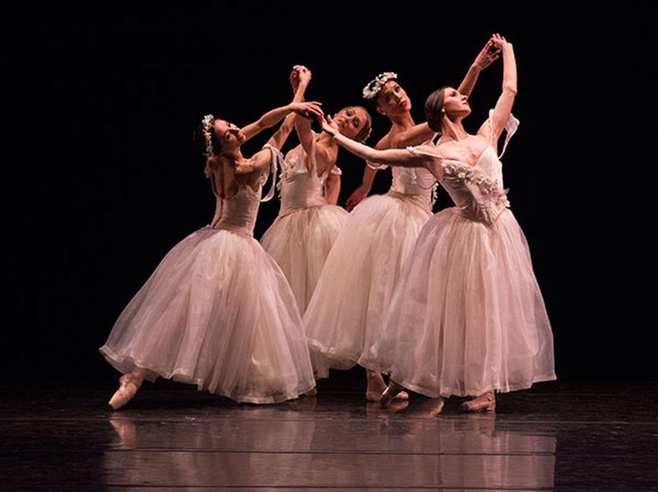 The Boston Ballet wraps up its season with Rhapsody, a program comprising five works. Here, dancers perform Leonid Yakobson's Pas de Quatre.