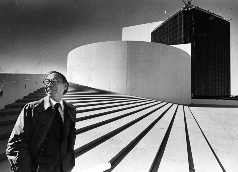 I.M. Pei stood outside the John F. Kennedy Presidential Library and Museum in 1979. It was the first time he'd seen the building, which he designed, in person.