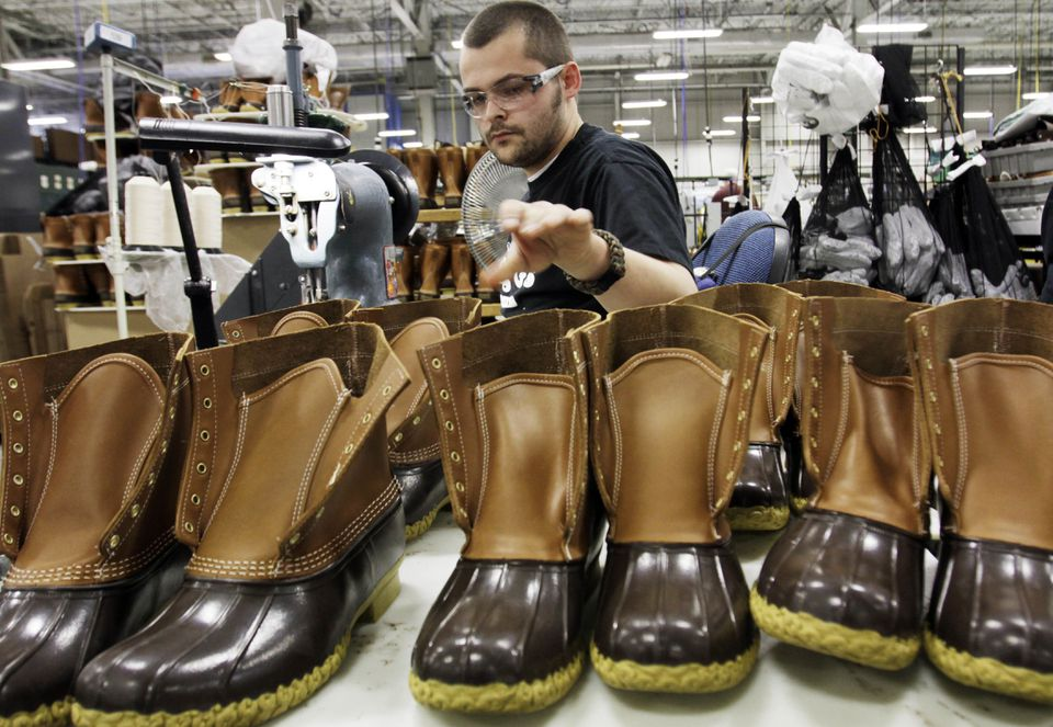 A worker stitched boots at L.L. Bean's Brunswick, Maine, factory in 2011.