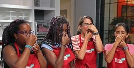 Isabella Moya, Tatiana Riggins, Kristin Sargianis, and Suriya Keshava conducted a test — hold your nose to kill the sense of smell and eat a jellybean.