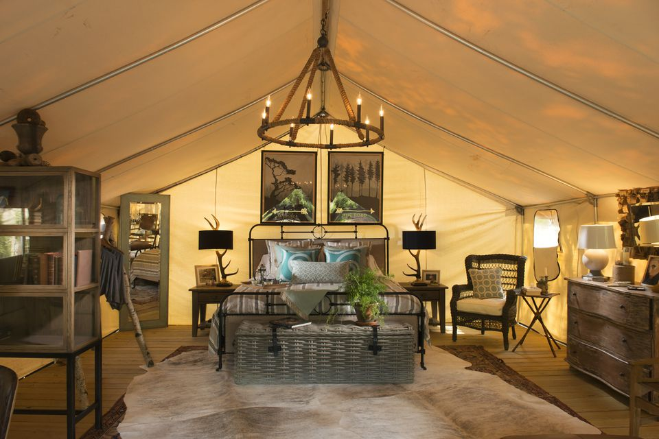 """A Wanderlust """"glamp tent"""" at Sandy Pines."""