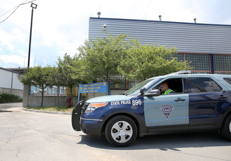 A state trooper drove out from Emergency Response Station 10 in a Charlestown industrial park.