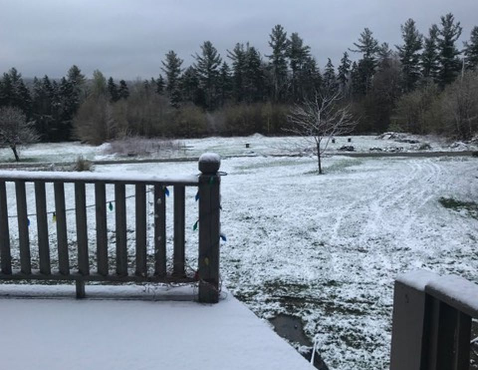 Snow was on the ground in Rowe, Mass.