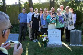 Three generations of Kittie Knox's relatives attended a ceremony dedicating a new headstone at Mount Auburn Cemetery.