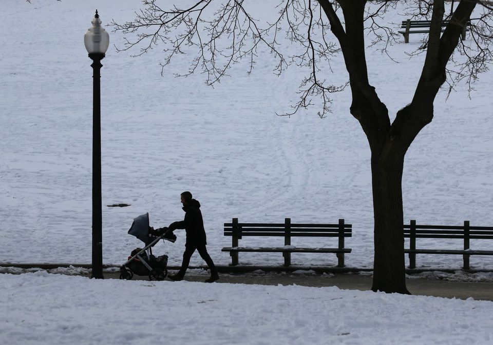 A man pushed a carriage through Boston Common in Boston on Wednesday.