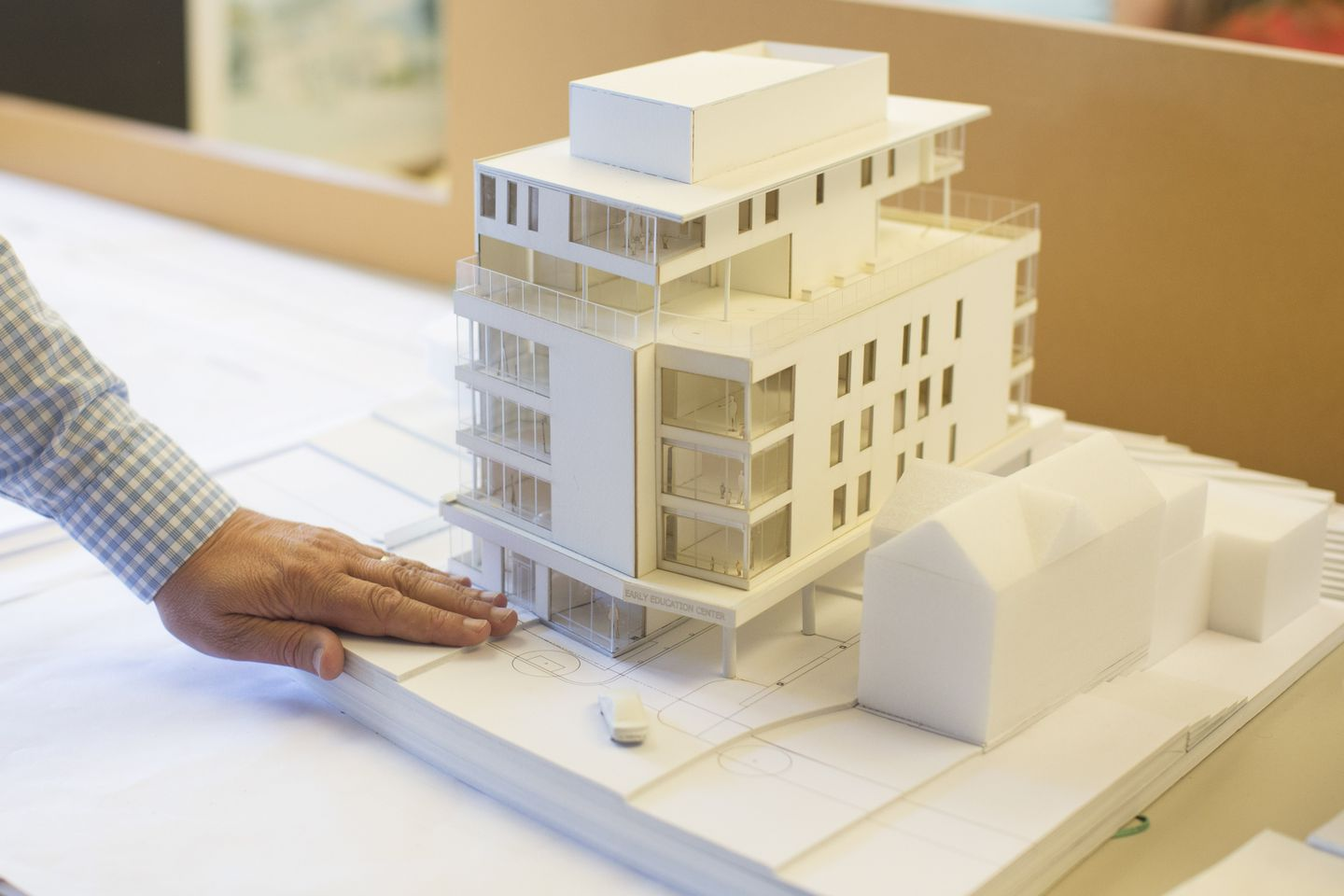 A model of day-care center that will be built in Brookline.
