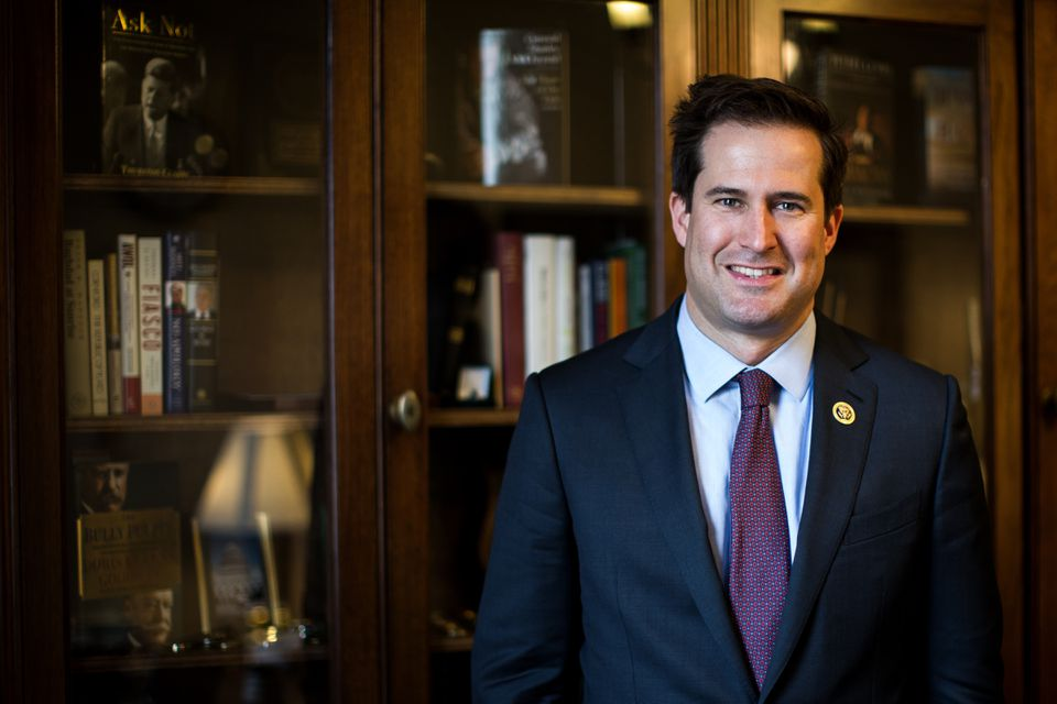 Representative Seth Moulton is seen in his office on Capitol Hill in Washington.