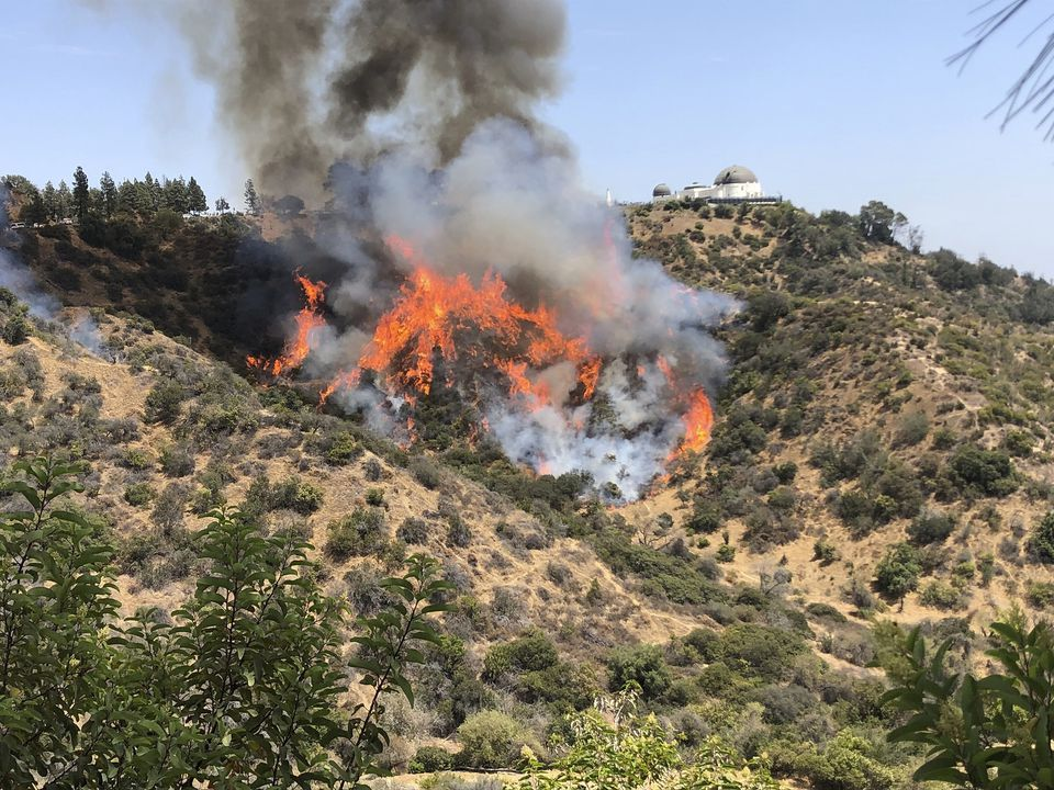 A relatively small wildfire burns about two dozen acres on the hills surrounding the famous Griffith Observatory in Los Angeles on Tuesday.