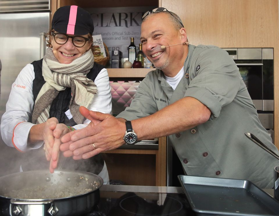 """Chefs Jodi Adams and Eric Brennan warmed their hands at a meatball competition during """"Let's Talk About Food """" festival in Copley Square."""