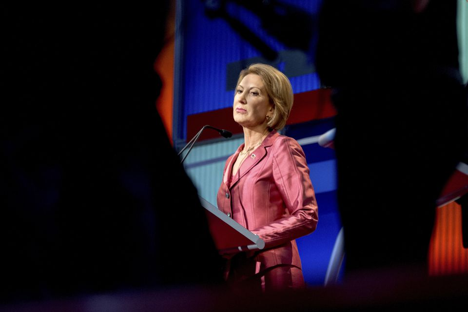 "Carly Fiorina delivered her lines crisply during the ""happy-hour"" debate Thursday featuring seven of the candidates."