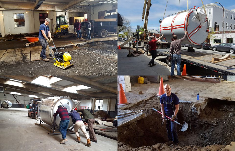 Scenes from transforming an auto repair shop into a craft brewery, including sweat equity put in by cofounder AC Jones (with shovel).