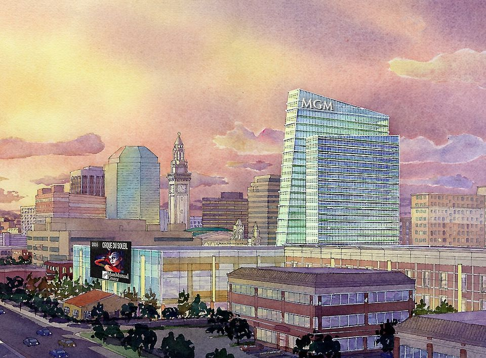 An artist rendering of part of a proposed casino complex in Springfield.