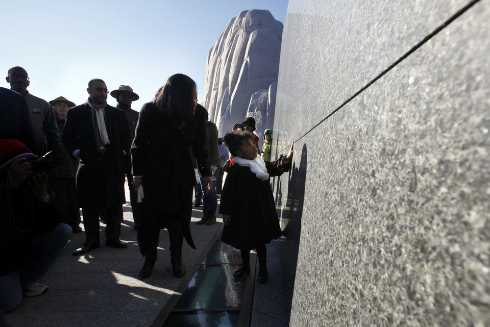 Yolanda  King, 3,  Martin Luther King, Jr.'s granddaughter, and her mother, Arndrea King, visited his new memorial in Washington.