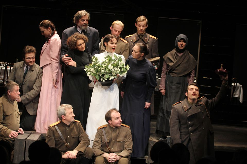 "The ensemble cast in the ArtsEmerson production of Anton Chekhov's ""Three Sisters."""