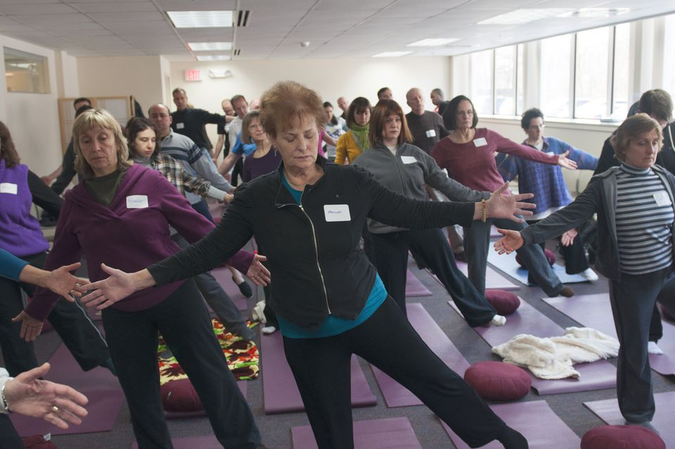 A meditation class at the Center for Mindfulness in Medicine, Health Care, and Society at the University of Massachusetts Medical School.