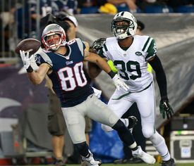 Danny Amendola draws a pass interference call against the Jets late in the first half, setting up a field goal for the Patriots before the break . . .