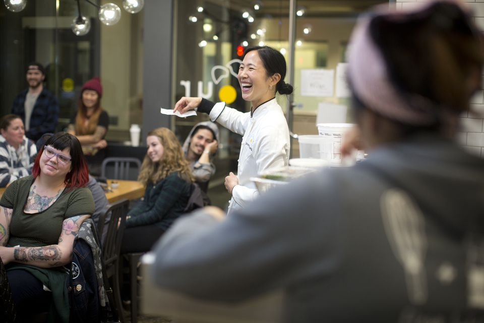 Chang leads a staff meeting at the South End Flour.