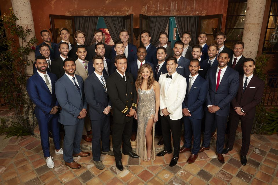 "Hannah Brown and her suitors on the first night of this season's installment of ""The Bachelorette."""