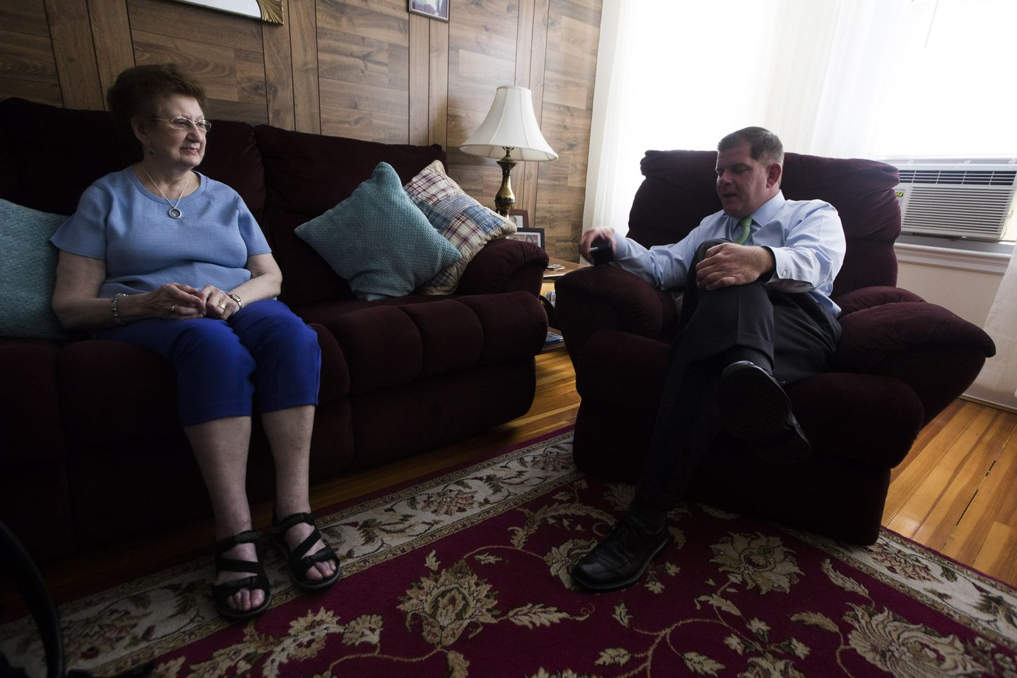 Walsh visits with his mom, who still lives in the Dorchester triple-decker where he grew up.